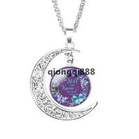 JH Библии стихи подвесные ожерелья для женщин стекло кабошон луна Писание писем цветок печать подвеска ожерелье вера украшения