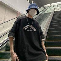T-shirts Hommes Hybskr Été 2021 Simple Hommes Tshirt Lettre Imprimer Cou Rond Rouge À Manches courtes Lâche Harajuku T-shirt Hauts de mode occasionnels