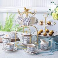 Atmósfera de moda MULAN LÍNEA DE ORO LÍNEA CERÁMICA DE TEA DE CERÁMICO OEM DE DISEÑO DE CAFE DE CAFÉ DE CAFÉ Y Set de platillos
