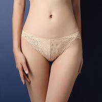 Women Underwear Summer Dress Sexy Lace Lacework Khaki Transparent Temptation Panties With Cutout Hip Intimate Hot Woman Exotic