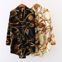 Женщины дизайнер отворотный шеи блузка весенние шифоновые печать цветочные роскоши кардиган блузки модные рубашки верхняя защита от солнца рубашка плюс размер S-5XL