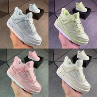 Kids Jumpman 4s Grey Pink IV Union Basketball Shoes Collection Children Outdoor Sports Sneaker Sail Muslin White Black 4 Athletic Sneake xSm