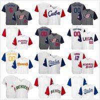 Custom World Baseball Classic Stitched Jersey Puerto Rico Dominicana America Ltalia Venesuela Mexico Cuba WBC Jerseys