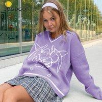 Jocecat preppy style негабаритные перемычки женщины дьявол темные академии старинные трикотажные одежды полосатый v шеи с длинным рукавом зимние свитеры