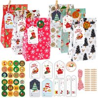 Gift Wrap 24 Sets Merry Christmas Candy Boxes Bags Santa Snowman Box Paper Party Packaging Supplies Year
