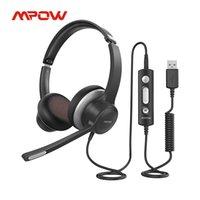 MPOW HC6 USB USB Fones de ouvido com fio de computador com microfone Fone de ouvido de controle em linha para o Call Center Skype PC Cellphone
