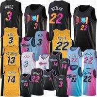 Dwyane 3 Wade Jimmy 22 Butler Basketball Jersey Mens Bam 13 Adebayo Tyler 14 Herro 2021 Stadt Trikots schwarz