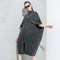 Women's Trench Coats LANMREM 2021 Summer Fashion Women Clothing High Collar Batwing Sleeves Black Denim Windbreaker Zippers WL21301 Bis Size