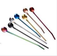 Beber palhas longas Colher de aço inoxidável de aço inoxidável mistura colheres de mistura café leite chá agitador barra ferramentas barware ferramenta de cozinha dwb9556