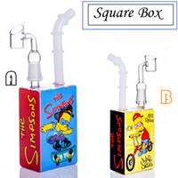 Due stili Hitman più nuovo Juice Box Square Bong Bong 14,4 mm Maschio Cap Nail per erba Acqua di vetro Pieeps fumare narghilè