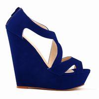 Verano azul playa cuña sandalias para mujer tobillo correa plataforma gladiador zapatos mujeres chaussure tacones altos sandalias mujer 2020 ljw
