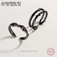 Кластерные кольца Ослух 100% 925 Стерлинговые серебряные шипы шипы розовые пары красный Zircon романтический для женщин любовник винтажный богемный ретро подарок