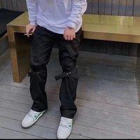 2021 New Harajuku Joelho Correias em Linha Reta Casual Terno Masculinas Slido Preto Streetwear Hip Hop Baggy Flare C5E0