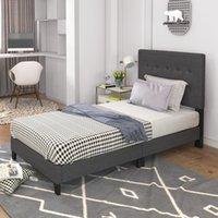 Schlafzimmermöbel Gepolsterte Plattform Bettenrahmen Matratzenfundament mit Sperrholz-Slat-Support und gepftem Kopfteil, Twin - dunkelgrau
