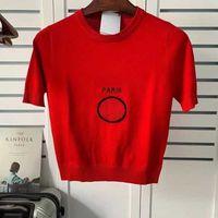 T-shirt T-shirt Dames de haute qualité Gilet et estival T-shirt T-shirt Dames Casual Respirant Vêtements extérieurs Tricotés Jacquard Lettre Bretelles à tricoter T-shirts T-shirts