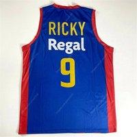사용자 정의 리키 루비오 # 9 팀 스페인 Espana 바르셀로나 농구 유니폼 블루 사이즈 S-4XL 모든 이름과 번호 최고급 유니폼