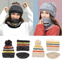 Hats, Scarves & Gloves Sets Warm Fleece Lined Scarf Cycling Mask Beanies Women's Hat With Pompom Ski