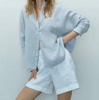Women's Blouses & Shirts Meriahzheng 2021 Summer Loose Multicolor Folded Single-breasted Design Lapel Drape Simple Square Linen Casual Shirt