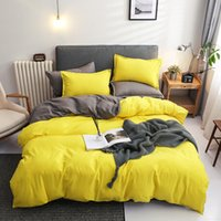 2021 Direct Selling Bedding Sets 4 Pieces Pure Color Double-sided Four-piece Bed Set High Quality