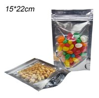 50pcs lot 15*22cm Clear Zip lock Stand Up Mylar Pouch Zip Lock Valve Food Packaging Bags Aluminum Foil Dried Food Snack Package Storage Bags