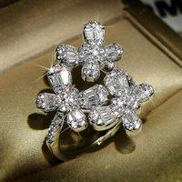 Anéis de cluster 2021 Borboleta na moda 925 Anel de moda de prata esterlina para menina presente de Natal festa jóias a granel vender moonso r5824