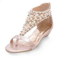 Yaernidesigner t-rem pearl beading sandal lyx svart / guld flip flops små kilar gladiator shoese1130 210619 p6zt