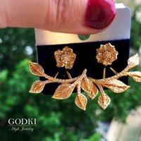 Stud GODKI Luxury Fashion Flower Leaf Earring For Women Wedding Cubic Zirconia Crystal CZ African Bridal