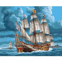 Paintings Picture By Numbers Seaside Ship Landscapes Oil Painting On Canvas Frame Handmade DIY Craft Kits Adults Color Drawing Home Decor