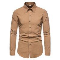 Erkek Casual Gömlek Parklees 2021 Sonbahar Pamuk Keten Kahverengi Gömlek Erkekler Uzun Kollu Katı İnce Düğme Up Office İş Elbise Camisas