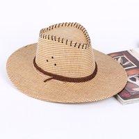 Western cow-boy trois corde chapeau de paille de voyage printemps et automne extérieur grand chapeau d'oreilles d'été hommes chapeau soleil