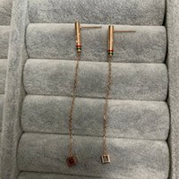 20 USA Design Mix оптом преувеличенные Длинные свитывающие алмазные буквы Tassel Drop Серьги для девушки Женщины Розовое золото заполнено любовь свадьба