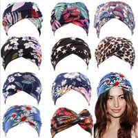 European and American New Head Hair Band for Girls Women printing Headwear Sports Yoga Headband Sweat absorption Stop Wide brimmed scarf XX20200909