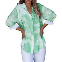 Women's Blouses & Shirts 2021 Tie-dye Plus Size Tops For Women Turn-down Collar Long Sleeve Office Vintage Ladies Casual Streetwear Blouse