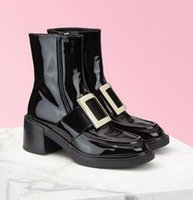Boots 2021 Ankle High Heels Patent Leather Womens Shoes Platform Demonia Brand Thick Sole