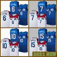 Баскетбол Джерси Команда America 2021 США Токио Летние Олимпиады Темно-Синий Белый Дамиан 6 Лиллард Кевин 7 Дюрант Джайсон 10 Татум Девин 15 Будар Армейский