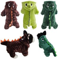 Cat Funny Dinosaur Costumes Coat Winter Warm Fleece Pet Apparel For Small Cats Kitten Hoodie Puppy Dog Clothes