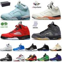 مع مربع رجلOff White Nike Air Jordan 5 Retro 5S أحذية كرة السلة Jumpman 5 المحولات Doernbecher Raging Bull Bluebird Quai 54 النار الأحمر أوريغون البط الرياضية أحذية رياضية