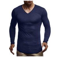 Men's T-Shirts Men Compression Running T Shirt Fitness Tight V Neck Long Sleeve Sport Tshirt Training Jogging Top Gym Sportswear Quick Dry G