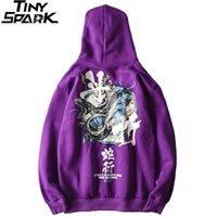 Hip Hop Erkekler Hoodie Kazak Yılan Çin Karakter Hoodie Streetwear Sonbahar Kış Polar Mor Kazak Pamuk Hipster 201104
