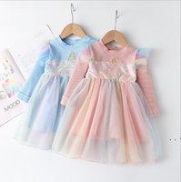 Prenses Elbise Kabarcık Etek Gökkuşağı Grenadine Elbise Fly Kol Uzun Kollu Tül Etekler Tutu Çocuk Tasarımcı Giysileri Batı Tarzı OWB5254