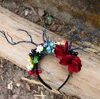 Mori Girl Fairy Fan Party Pogrografía Tocado Flor Bayas Novia Pelo Pelo Exagerado Ramas Diadema Goth Fantasía Vestido