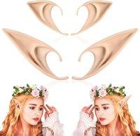 4 unids oídos elfos de los oídos medio y largo cosplay hadas pixie puntas suaves puntas anime fiesta vestido de vestir disfraz accesorios masquerade halloween elven vampiro hadas orejas
