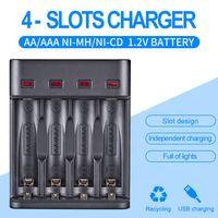 Ampere Power Batteriladdare LCD-skärm 4 Slitsar Uppladdningsbara Batterier Ni-MH NI-CD AA AAA Li-Ion LIFEPO4 IMR Smart Universal Laddare