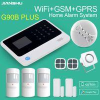 Jianshu GSM WiFi نظام إنذار GSM WiFi GPRS المحمول التطبيق التحكم الأمن نظام إنذار الأمن مع دخان كاشف الأسلاك صفارات الإنذار