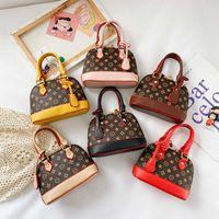 Mode Kinder Shell Handtasche Luxus Kinder Blumen Gedruckt PU Leder Kette Geldbörse Mädchen Einzelner Umhängetasche Designer Frauen Mini Bags F061