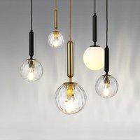 Подвесные светильники современный простой северный стеклянный шар шар одной головы три творческие личности спальня прикроватная батоншаяся столовая маленькая люстра