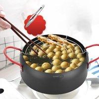 Pans 22cm 일본식 깊은 프라이팬 주방 튀김 프라이어 팬 오일 필터 스탠드가있는 스테인레스 스틸 요리 도구