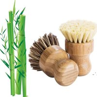 Doğa Ahşap Kolu Mutfak Temizleme Fırçası Sisal Palm Phoebe Bambu Kısa Kolu Yuvarlak Bulaşık Fırçası Yıkama Pot Fırçalama OWD5529