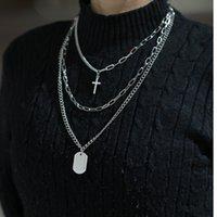 Heiße Hip Hop Schmuck Multilayer Pullover Kette Neutrale Halskette Persönlichkeit Kreuz Anhänger Clawicle Kette Männer Frauen Punk Halskette Großhandel