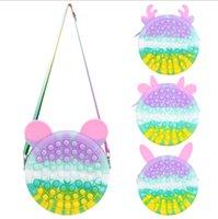 Rainbow Fidget Bubble Poppers Toy Chain Bag Purses Cute Rabbit Ear Crossbody Fanny Pack Push Pop Sensory Puzzle Early Leaning Education Handbags